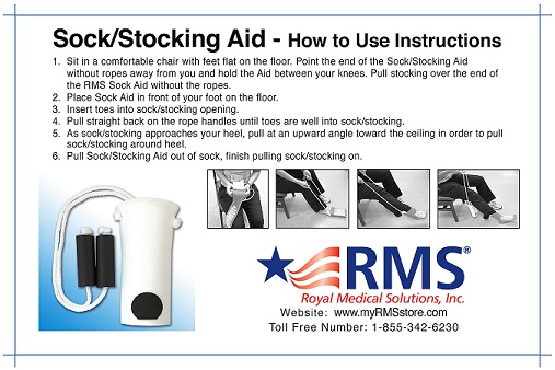 c8a5b0d18b RMS Deluxe Sock Aid with Foam Handles | Royal Medical Solutions