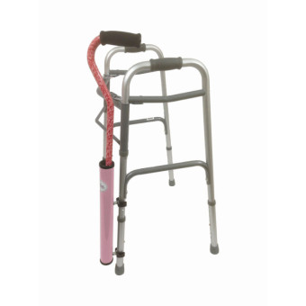 Pink Cane Tube on Walker