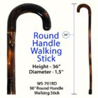 "Round Handle 36"" Walking Stick"