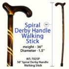 "Spiral Derby Handle 36"" Walking Stick"