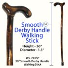 "Smooth Derby Handle 36"" Walking Stick"